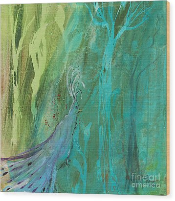 Wood Print featuring the painting Undercover Peacock by Robin Maria Pedrero