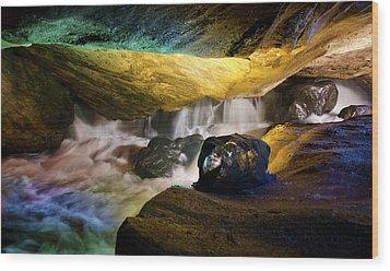 Underground Waterfall 2 Wood Print by Mark Papke