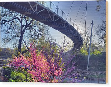 Underneath The Liberty Bridge In Downtown Greenville Sc Wood Print