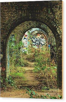 Underneath The Railway Arches Wood Print by C Lythgo