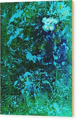 Undersea Mystery Flower II Wood Print by Anne-Elizabeth Whiteway