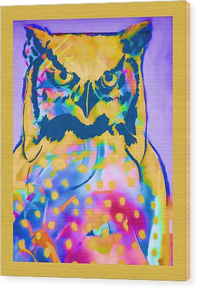 Understated Owl Wood Print by Carol Leigh