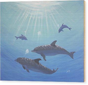 Underwater Dolphins Original Acrylic Painting Wood Print by Georgeta  Blanaru