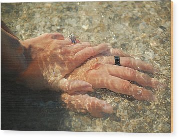 Wood Print featuring the photograph Underwater Hands by Leticia Latocki
