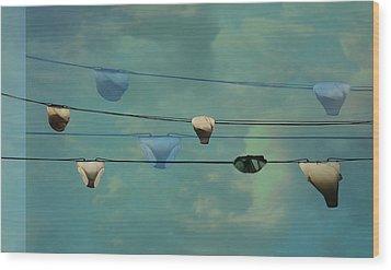 Underwear On A Washing Line  Wood Print by Jasna Buncic