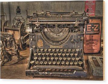 Underwood Typewriter Number 5 Wood Print by Debra and Dave Vanderlaan