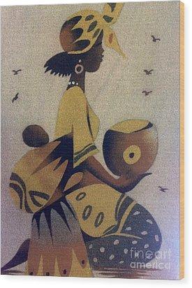 Une Bonne Mere - A Good Mother Wood Print by Fania Simon
