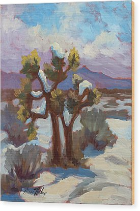 Unexpected Snowfall At Joshua Tree Wood Print by Diane McClary
