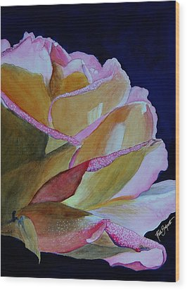 Unfolding Rose Wood Print by Ruth Bodycott