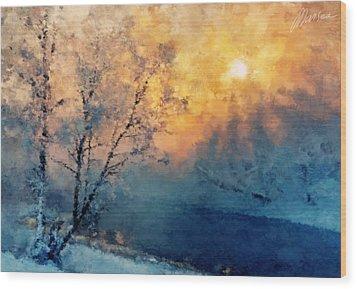 Unfrozen River Wood Print by Marina Likholat
