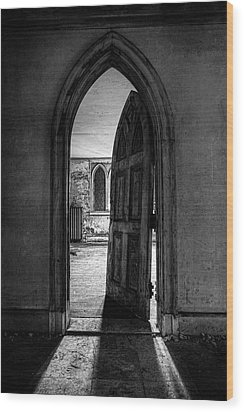 Unhinged - Old Gothic Door In An Abandoned Castle Wood Print by Gary Heller