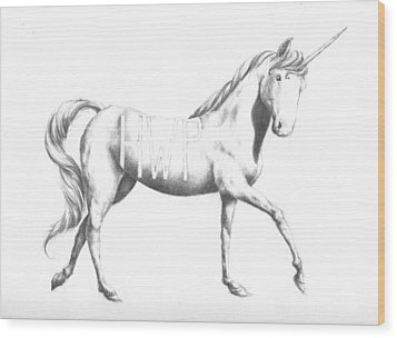 Unicorn Wood Print by Alexander M Petersen