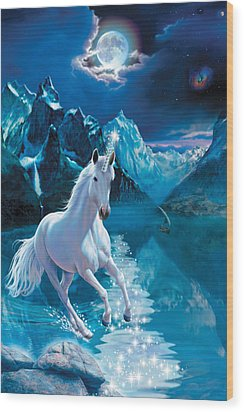 Unicorn Wood Print by Andrew Farley