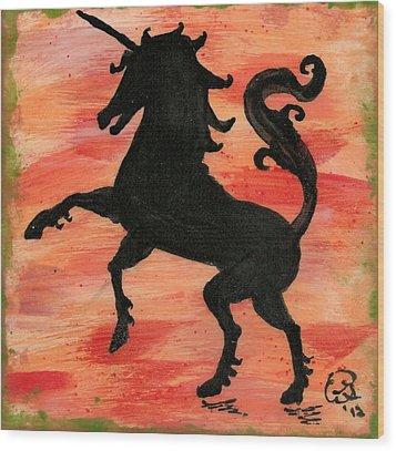 Unicorn At Play Wood Print by Gail Schmiedlin