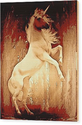 Unicorn Wood Print by David Alvarez