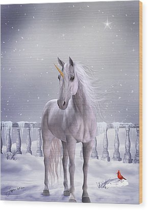 Wood Print featuring the digital art Unicorn In The Snow by Jayne Wilson