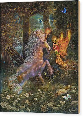 Unicorn King-angel Tarot Card Wood Print by Steve Roberts