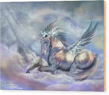 Unicorn Of Peace Wood Print by Carol Cavalaris