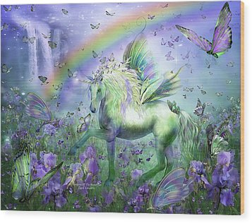 Unicorn Of The Butterflies Wood Print by Carol Cavalaris