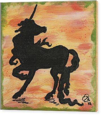 Unicorn On Watch Wood Print by Gail Schmiedlin