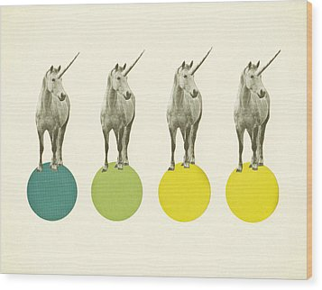 Unicorn Parade Wood Print by Cassia Beck
