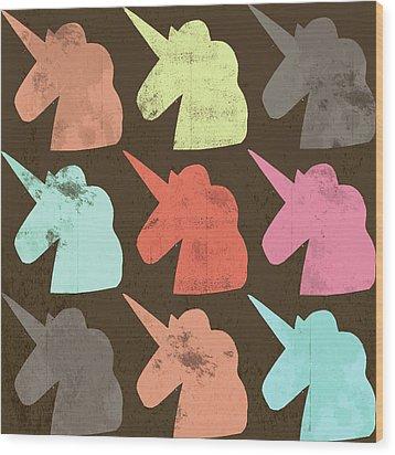 Unicorn Silhouettes I Wood Print by Lisa Barbero