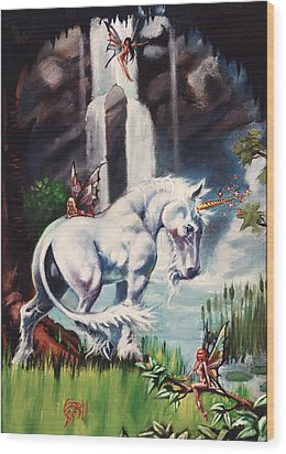 Unicorn Spring Wood Print by T Ezell