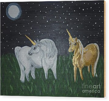 Wood Print featuring the painting Unicorns For Julie by Cassandra Buckley