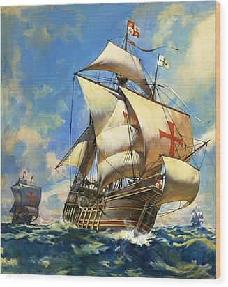 Unidentified Sailing Ships Wood Print by Andrew Howat