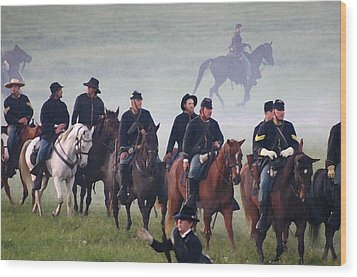 Union Cavalry On The March - Perryville Ky Wood Print by Thia Stover