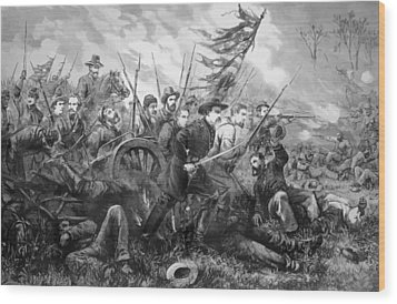 Union Charge At The Battle Of Gettysburg Wood Print by War Is Hell Store