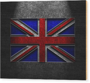 Wood Print featuring the digital art Union Jack Stone Texture by The Learning Curve Photography