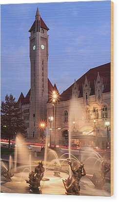 Union Station In Twilight Wood Print by Scott Rackers