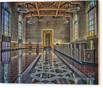 Union Station Interior- Los Angeles Wood Print by David Doucot