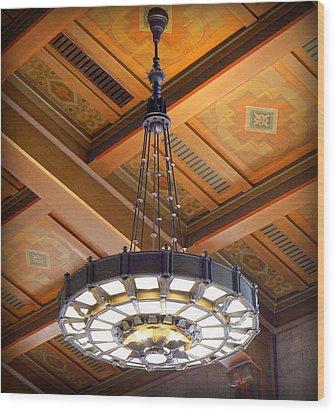 Union Station Light Fixture Wood Print by Karyn Robinson