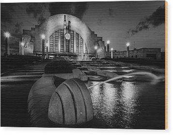 Union Terminal At Night Wood Print