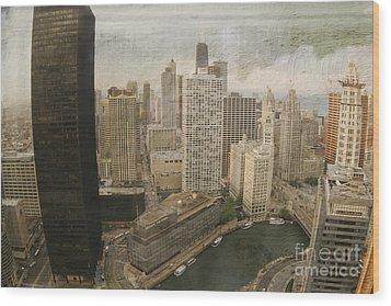 Vintage Unique Downtown Chicago View Digital Art Wood Print by Linda Matlow