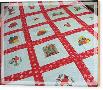 Unique Quilt With Christmas Season Images Wood Print by Barbara Griffin