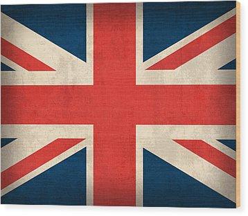 United Kingdom Union Jack England Britain Flag Vintage Distressed Finish Wood Print by Design Turnpike