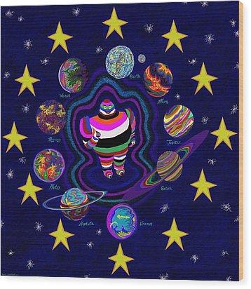 United Planets Of Eurotrazz Wood Print by Robert SORENSEN