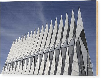 United States Airforce Academy Chapel Colorado Wood Print by Bob Christopher