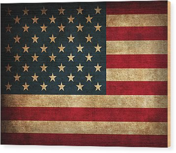 United States American Usa Flag Vintage Distressed Finish On Worn Canvas Wood Print by Design Turnpike