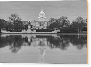 United States Capitol Building Bw Wood Print by Susan Candelario