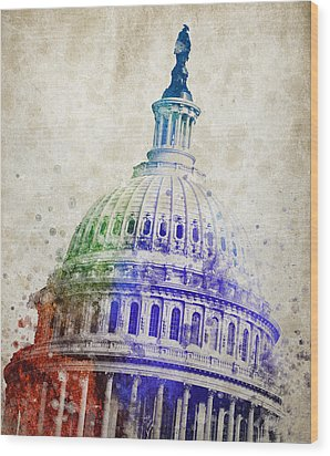 United States Capitol Dome Wood Print by Aged Pixel