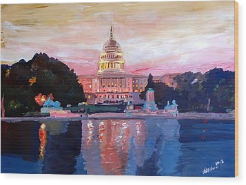 United States Capitol In Washington D.c. At Sunset Wood Print by M Bleichner