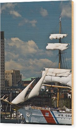 Wood Print featuring the photograph United States Coast Guard Cutter by Caroline Stella