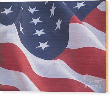 Wood Print featuring the photograph United States Flag  by Chrisann Ellis