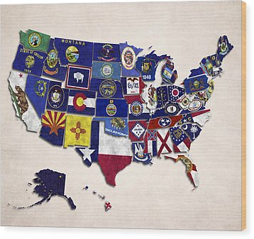 United States Map With Fifty States Wood Print by World Art Prints And Designs