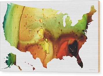 United States Of America Map 5 - Colorful Usa Wood Print by Sharon Cummings