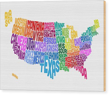 United States Typography Text Map Wood Print by Michael Tompsett